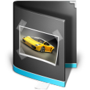 128x128px size png icon of Pictures Folder Black