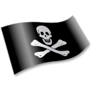 128x128px size png icon of Pirates Jolly Roger Flag 2