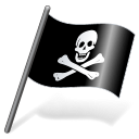 128x128px size png icon of Pirates Jolly Roger Flag 3