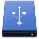 128x128px size png icon of Blue USB Drive