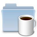 128x128px size png icon of Coffee Folder Badged