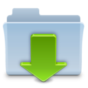 128x128px size png icon of Downloads Folder Badged