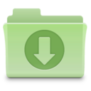 128x128px size png icon of Downloads Folder Green