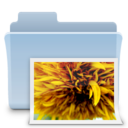 128x128px size png icon of Pictures Folder Badged