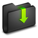 128x128px size png icon of Downloads Black Folder