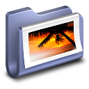 128x128px size png icon of Photos Blue Folder