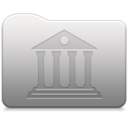 128x128px size png icon of Aluminum folder   library