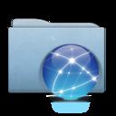 128x128px size png icon of Folder Blue Globe Aqua