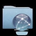 128x128px size png icon of Folder Blue Globe Graphite