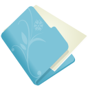 128x128px size png icon of folder flower blue