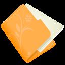 128x128px size png icon of folder flower orange