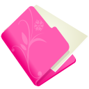 128x128px size png icon of folder flower pink