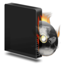 128x128px size png icon of Cd burner burning