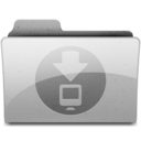 128x128px size png icon of downloads Grey