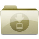 128x128px size png icon of downloads Tan