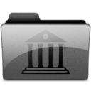 128x128px size png icon of library Charcoal