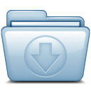 128x128px size png icon of Blue Download