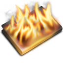 128x128px size png icon of Burn Black