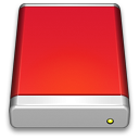 128x128px size png icon of External Drive Red