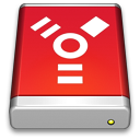 128x128px size png icon of Firewire Drive Red