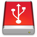 128x128px size png icon of USB Drive Red