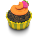 128x128px size png icon of Chocolate Orange Cupcake