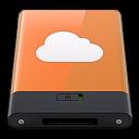 128x128px size png icon of orange idisk w