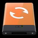 128x128px size png icon of orange sync w