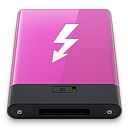 128x128px size png icon of pink thunderbolt w