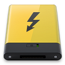 128x128px size png icon of yellow thunderbolt