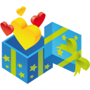 128x128px size png icon of gift hearts