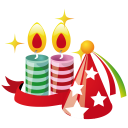 128x128px size png icon of party hat candles