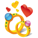 128x128px size png icon of ring hearts