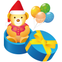 128x128px size png icon of teddy gift