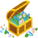 128x128px size png icon of treasure chest open