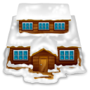 128x128px size png icon of house with snow
