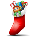 128x128px size png icon of socks with christmas things inside