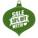 128x128px size png icon of Sale 50 percent off heart green