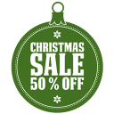 128x128px size png icon of christmas sale 50 percent off