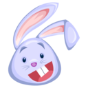 128x128px size png icon of blue rabbit