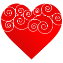 128x128px size png icon of Heart Round Pattern