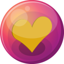 128x128px size png icon of heart orange 1