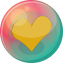 128x128px size png icon of heart orange 2