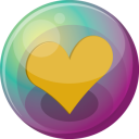 128x128px size png icon of heart orange 3