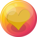 128x128px size png icon of heart orange 4