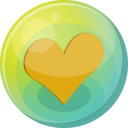128x128px size png icon of heart orange 5
