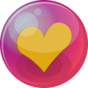 128x128px size png icon of heart orange 6