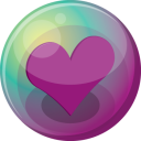 128x128px size png icon of heart purple 3