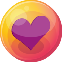 128x128px size png icon of heart purple 4