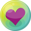 128x128px size png icon of heart purple 5